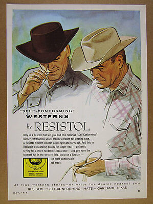 1959 Resistol Western Hats ranchers fashion illustration art vintage print Ad