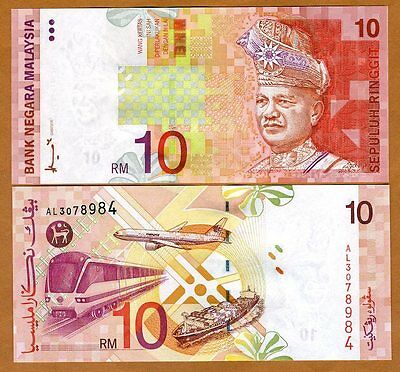 Malaysia, 10 Ringgit, ND (1997) P-42a, First Sign. UNC > Airplaine, Train, Ship