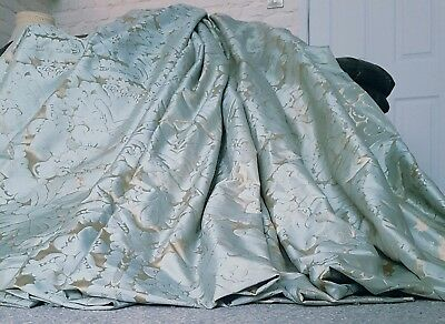 """NEW French Damask Lined Bay Curtains Duck Egg Gold Huge 104"""" Width 116"""" Long"""