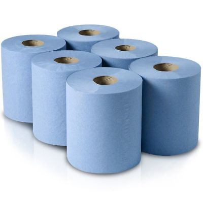 6 Pack 2 Ply Blue Embossed Centre Feed Paper Wipe Rolls Toiler Tissue