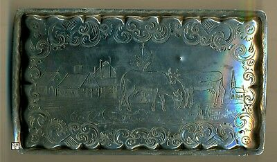 Silver Box Middle East Hallmark Engraved Erika Wiborg 1942,Fineness 83%,Wt.172gm