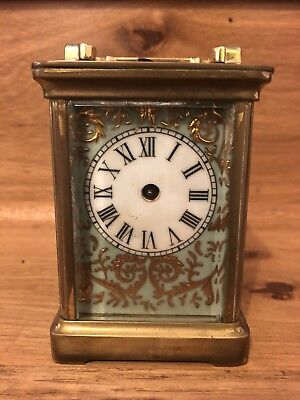 Large Porcelian Panel Carriage Clock Hunting Horses Scene Good Quality Case