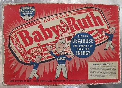 Vintage Baby Ruth Candy Bar Box 5¢ Rich in  Dextrose AMA Accepted