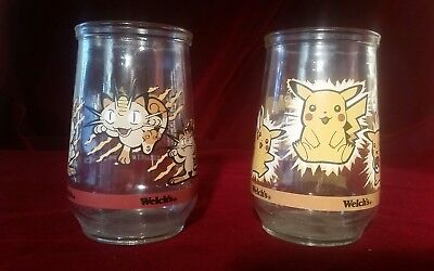 Welch's Pokemon Pikachu Meowth  Collectable Jar Glass