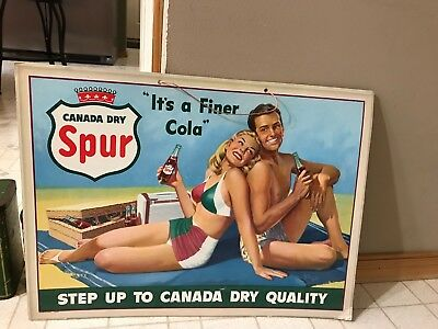 Vntage Litho Sign Display Old Store Display,canada Dry Sign Spur Sign Soda Sign
