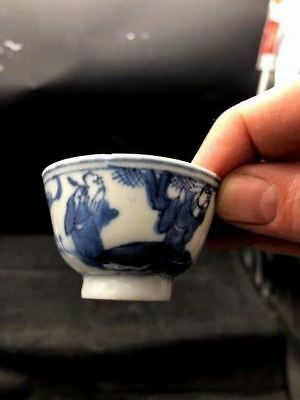 Miniature 1800S Era Blue And White Japanese Rice Bowl 2 1/2X 1 1/2