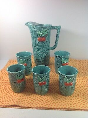 Vintage Napco IC-5636 Juice Set Pitcher W/5 Cups - Turquoise With Oranges