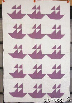 "Original c 1930s Sail Boats ""purple"" Vintage Quilt Crib   RARE Color"