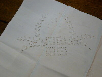 """Antique Hand Embroidered """"KJ"""" Eyelet Lace Cutwork Pillowcase 28 x 19"""" Crafts"""