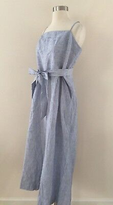 0cf6bcbed55 New JCREW Striped Linen Jumpsuit With Tie Size 12 Blue White Stripes G5964