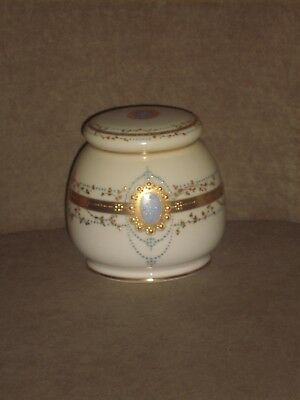 Very Rare Cac Lenox Covered Jar Gold & Blue Dot Pattern Old Cac Lenox Green Mark
