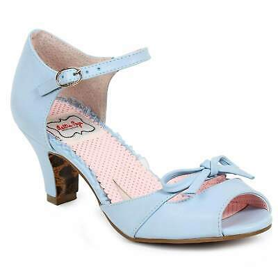 Bettie Page Tegan Shoes - Blue Retro Rockabilly Pin Up Vintage Inspired