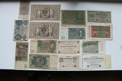 German banknotes, mostly inflation notes, total 15, 1908-37, nice items