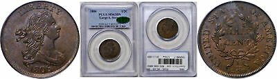1806 Half Cent PCGS MS-63 BN CAC Large 6, Stems