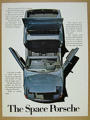 1971 Porsche 914 'the Space Porsche' blue car top-view photo vintage print Ad