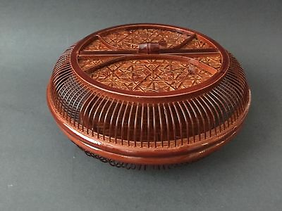 """Japanese Chinese Bamboo Woven Food Serving Basket 8.75""""D Lacquered Handmade"""