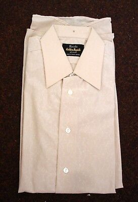 Vintage Rocola Golden Rapide Bri Nylon Long Sleeve Mens Shirt Cream Collar 15