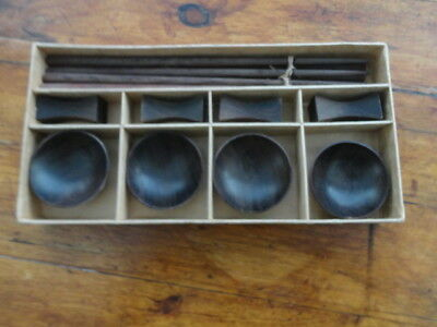 Vintage Japanese wooden chopstick set for four