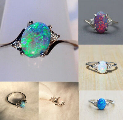 Vintage Silver Ring Fire Opal Moon Stone Wedding Proposal Party Size 5-11