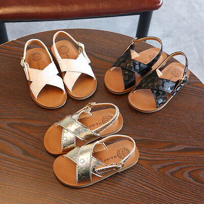Summer Toddler Kids Baby Girls Sandals Beach Sandals Slipper Roman Shoes UK