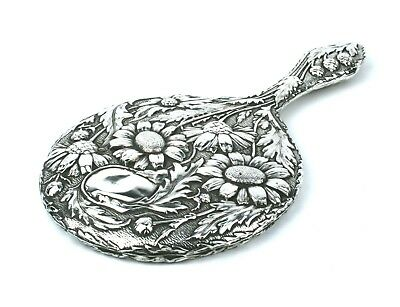 Antique Edwardian Sterling Silver Hand Mirror Cornflowers Floral 1906