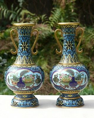 A Pair of Fine Chinese Gilt & Cloisonne Vases, Decorated with Antiques, Republic