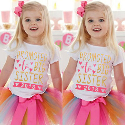 UK Stock Baby Kids Girls Cotton Tops Summer T-shirt Big Sister Clothes Outfits