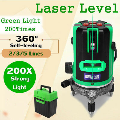 Green Laser Level 200 Times Self-Leveling 360° Rotary Measure 2/3/5 Cross Lines