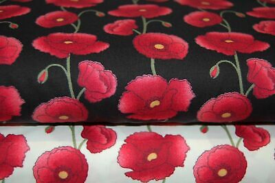 Rose & Hubble Remembrance Day Poppies 100% Cotton Fabric by Fat Quarter/Metre