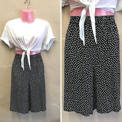 SIZE 12-14– VINTAGE HIGH WAISTED SHORTS BLACK & WHITE GEO 80's C&A (st11)