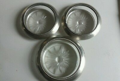 Vintage Lot Of 3 Frank M Whiting Sterling Silver & Glass Coasters stamped 04, 05