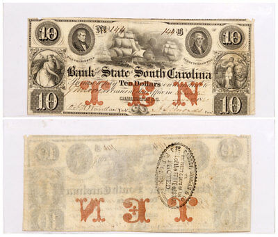 1861 $10 Obsolete Bank note - State of South Carolina Columbia F-VF SKU51580