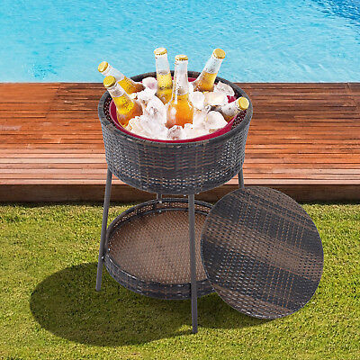 Outdoor Rattan Ice Bucket Wine Cooler Patio Stand W/ Tray Storage Poolside  Brown