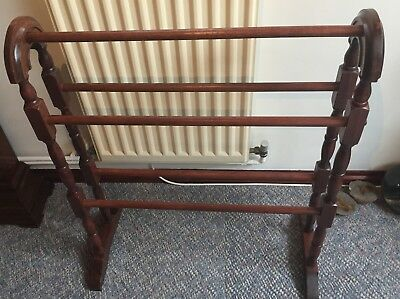 Towel Rail Clothes Horse Rack Wood Stained Mahogany Colour