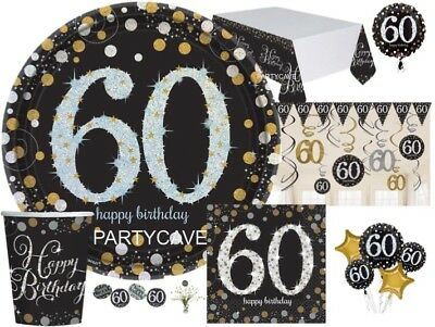 60th GOLD Celebration Birthday Party Balloons Tableware Decorations Supplies