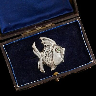 Antique Vintage Deco Retro Sterling Silver Mexican Taxco Chased Fish Brooch Pin