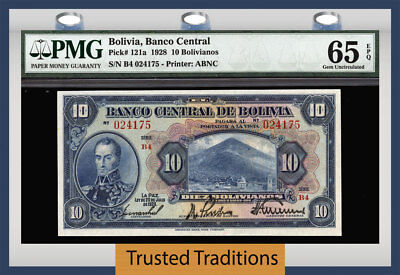 TT PK 121a 1928 BOLIVIA 10 BOLIVIANOS PMG 65 EPQ GEM UNCIRCULATED ONLY ONE FINER