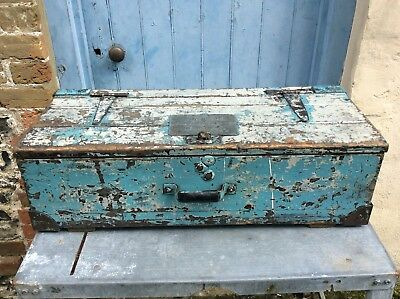 Vintage Pine Tool Box / Trunk / Storage Chest With Fabulous Aged Painted Patina