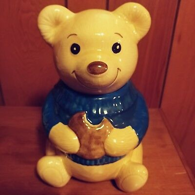 Metlox Vintage Smiling Eating Teddy Bear Cookie Jar Blue Sweater Made In USA