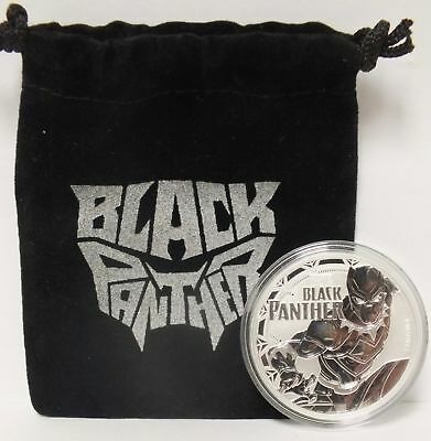 Black Panther 2018 Coin .999 Silver 1 oz - Marvel Comic $1 Tuvalu w/ Pouch JY221
