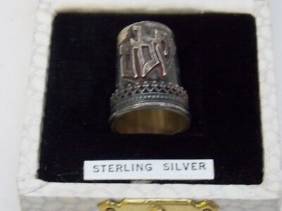 "Antique Sterling Silver Sewing Thimble in Box Made in Israel ""Peace"" Symbols"