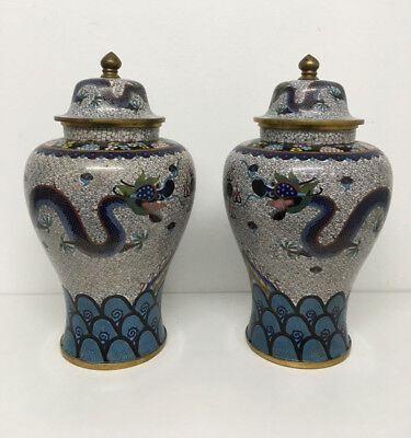 PAIR OF LARGE CHINESE CLOISONNE DRAGONS VASES LATE QING DYNASTY GOLD WIRES 3 kg