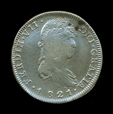 1821 Zs RG Mexico War of Independence Zacatecas 8 Reales Silver Coin KM# 111.6