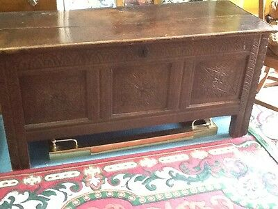 Early 18th Century Heavily Carved Coffer