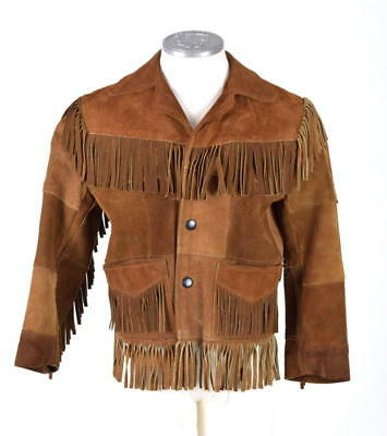 Vtg 1960s Brown Suede Fringe Leather Easy Rider Western Bomber Jacket Kids Boys