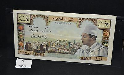West Point Coins ~ Morocco 5 Dirhams 1965 #53C Note