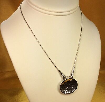 Silpada 925 Sterling Silver Hammered Pendant Necklace Chain Fine Jewelry