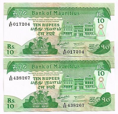 LOT OF TWO 1985 MAURITIUS 10 RUPEES NOTES - p35