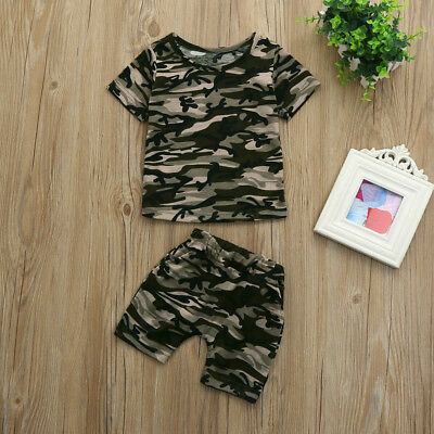 2PCS Toddler Kids Brother and Sister Camouflage T shirt Tops+Shorts Pants Set