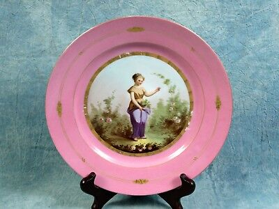 1820 French Hand Painted Pink Sevres Porcelain Girl Cabinet Plate Antique